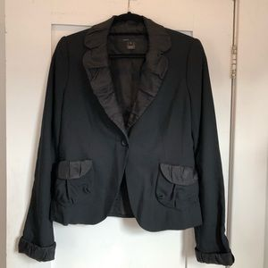 Marc Jacobs Black Pleated Collar Blazer - Size 8